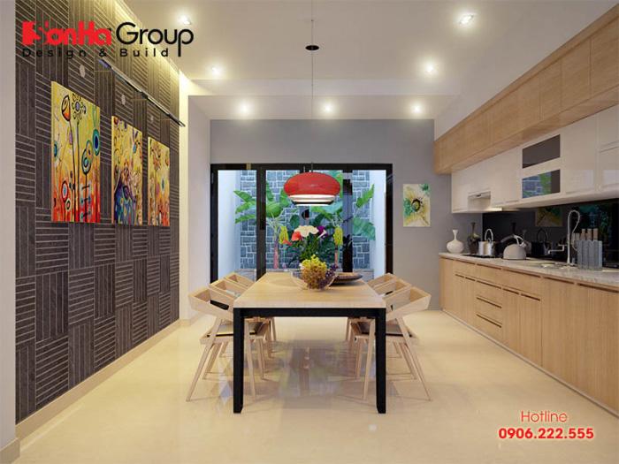 Ý tưởng trang trí bếp đẹp phong cách hiện đại với nội thất gỗ công nghiệp