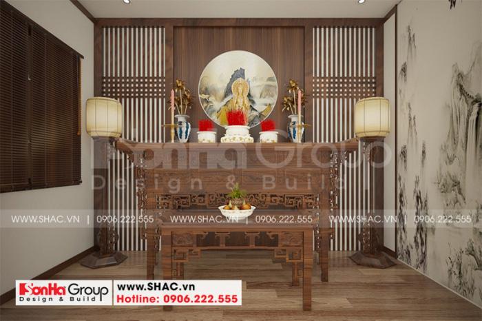 Thiết kế nội thất phòng thờ đẹp với các nguyên liệu giản dị mà sang trọng