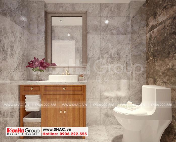 Thiết kế nội thất nhà vệ sinh với trang thiết bị hiện đại theo đúng yêu cầu của chủ đầu tư