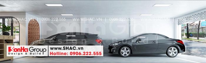 Thiết kế nội thất gara để xe thoáng đãng chứa ít nhất 2 ô tô