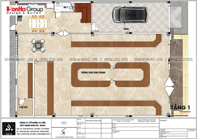 Bản vẽ chi tiết công năng tầng 1 biệt thự tân cổ điển kết hợp kinh doanh tại Hải Phòng