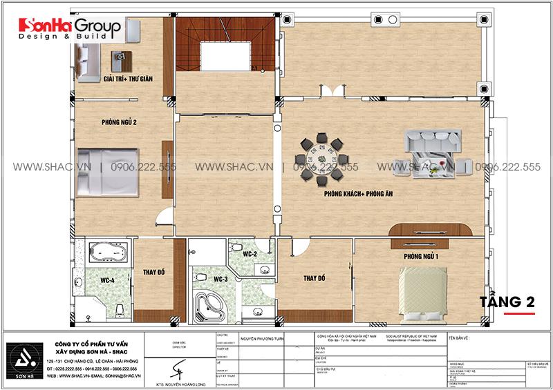 Bản vẽ chi tiết công năng tầng 2 biệt thự tân cổ điển kết hợp kinh doanh tại Hải Phòng