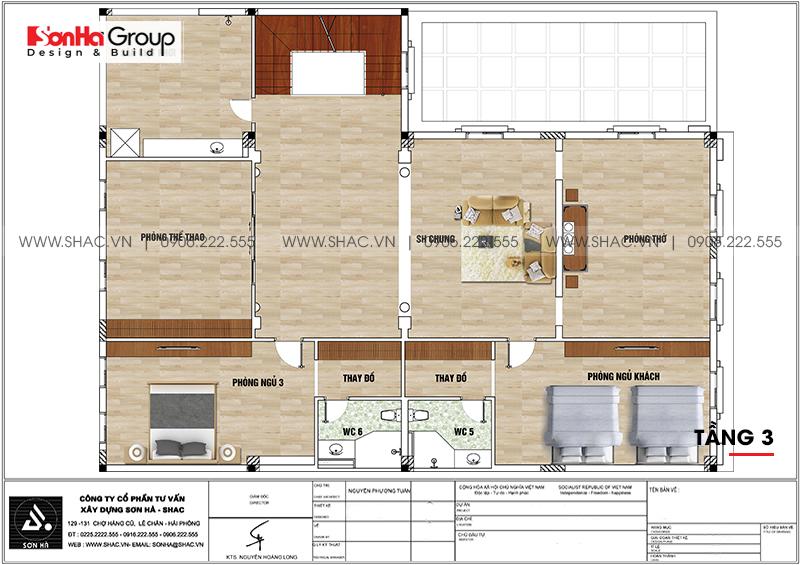 Bản vẽ chi tiết công năng tầng 3 biệt thự tân cổ điển kết hợp kinh doanh tại Hải Phòng