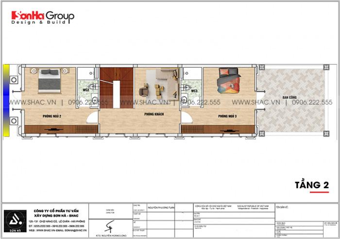 6 Bản vẽ tầng 2 nhà ống cổ điển 3 tầng tại hà nội sh nop 0203