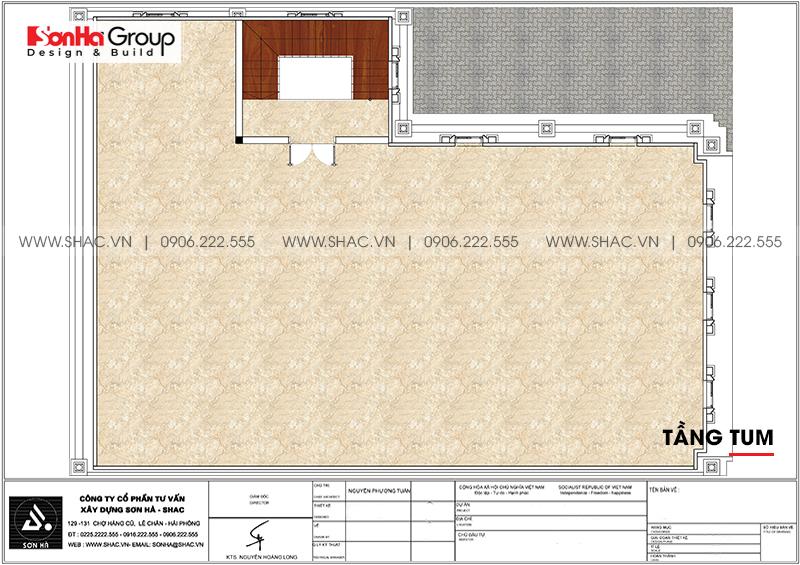 Bản vẽ chi tiết công năng tầng tum biệt thự tân cổ điển kết hợp kinh doanh tại Hải Phòng