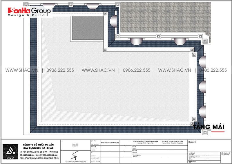 Bản vẽ chi tiết công năng tầng mái biệt thự tân cổ điển kết hợp kinh doanh tại Hải Phòng