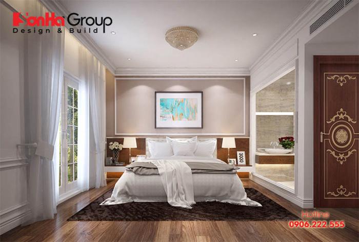 Ấn tượng của mẫu phòng ngủ này là cách sử dụng nội thất hài hòa từ kiểu dáng đến màu sắc