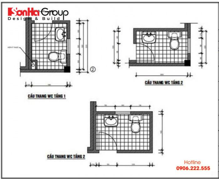 Bản vẽ chi tiết nhà vệ sinh cho nhà dân dụng, nhà ống hay nhà lô phố