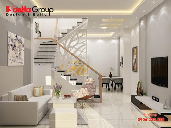 Bố trí cầu thang diện tích quá lớn sẽ gây mất tổng thể cho không gian phòng khách