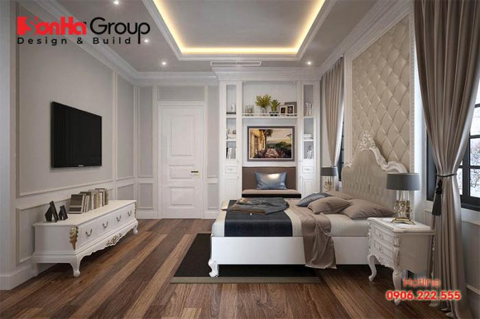Cách bố trí nội thất tân cổ điển pháp trong căn phòng rộng tạo nên sự ấm cúng và bình yên
