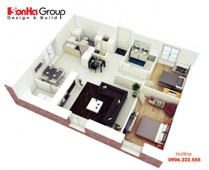 Cách thiết kế nội thất chung cư 2 phòng ngủ đẹp, hiện đại nhất 2020