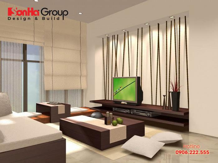 Căn phòng khách hiện đại có thiết kế nội thất đơn giản kiểu ngồi bệt được nhiều gia chủ Việt yêu thích