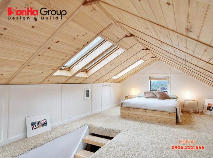 Căn phòng ngủ đặc biệt này được bố trí và thiết kế ở phần gác mái của ngôi nhà