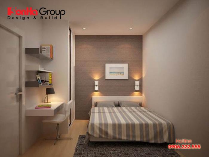Căn phòng ngủ hiện đại với thiết kế nội thất đơn giản bố trí ngăn nắp trên diện tích sàn chỉ 6m2