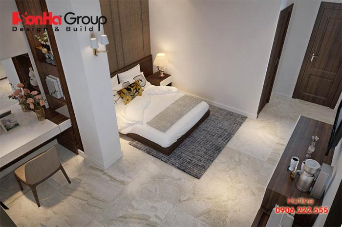 Căn phòng ngủ khách sạn tiêu chuẩn 3 sao có thiết kế nội thất hiện đại, kiểu dáng đơn giản nhưng sang trọng