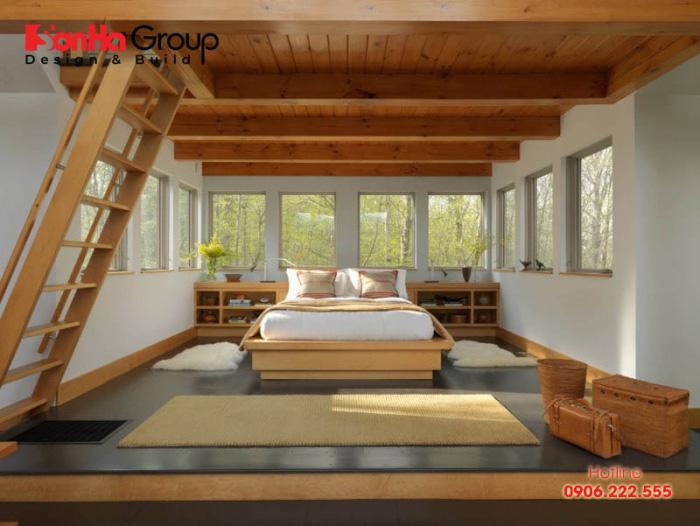 Căn phòng ngủ này được thiết kế nằm giữa phần gác lửng hai tầng vô cùng độc đáo