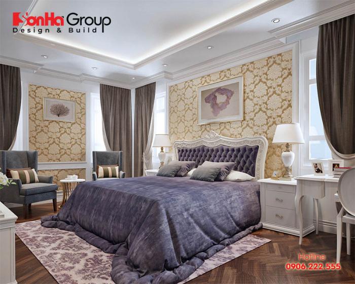 Căn phòng ngủ với thiết kế nội thất tân cổ điển đẹp cùng cách phối màu độc đáo, hài hòa