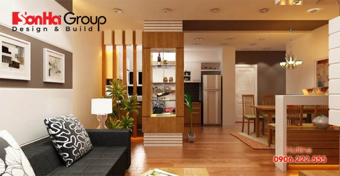 Gia chủ cũng có thể bố trí vách ngăn phòng bếp và phòng khách, vừa đảm bảo thẩm mỹ vừa tạo được sự riêng tư