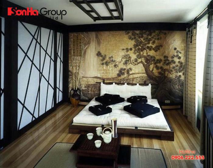 Giường ngủ phong cách Nhật Bản thường không cao