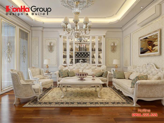 Khám phá không gian phòng khách biệt thự có thiết kế nội thất mang hơi hướng tân cổ điển sang trọng