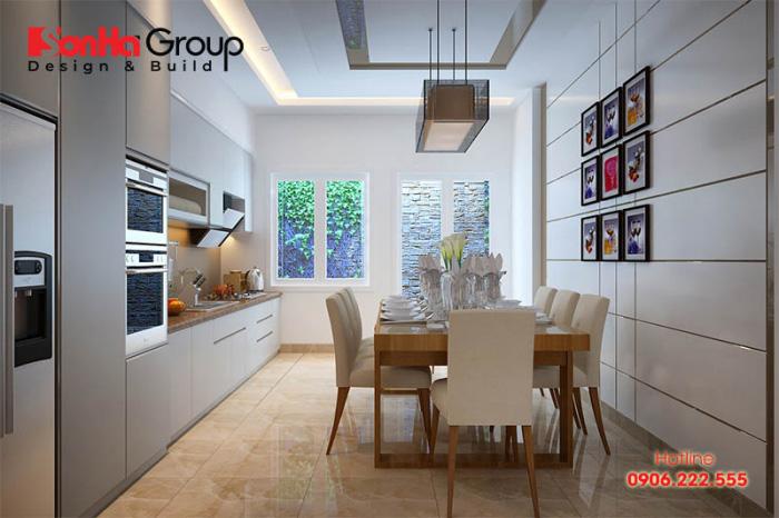 Khôg gian bếp đẹp, hiện đại với thiết kế mở mang đến không gian ẩm thực lý tưởng cho gia đình