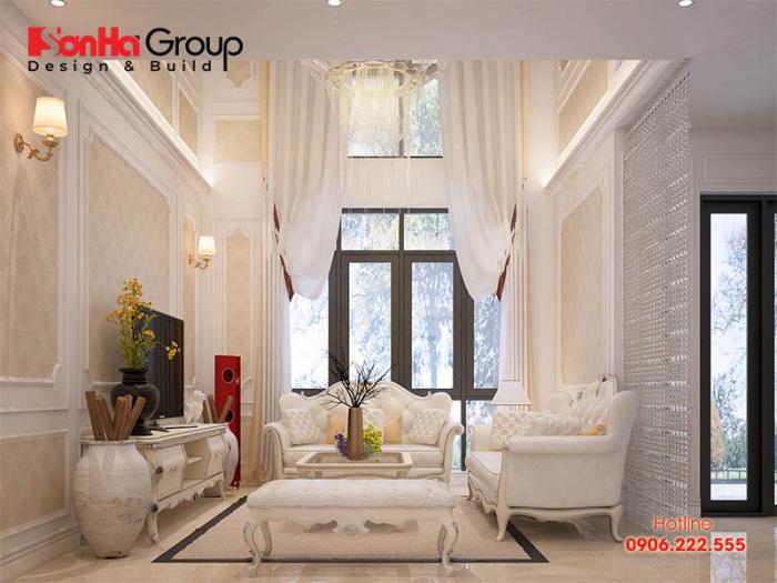 Không gian nội thất tân cổ điển không chứa quá nhiều chi tiết thiết kế mà tập trung thể hiện không gian