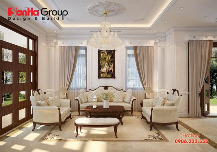 Không gian phòng khách với nội thất đẹp thiết kế dành riêng cho nhà biệt thự tân cổ điển