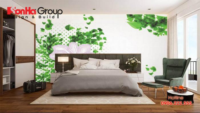 Không gian phòng ngủ hòa cùng thiên nhiên mang lại sự thư thái cho chủ nhân căn phòng