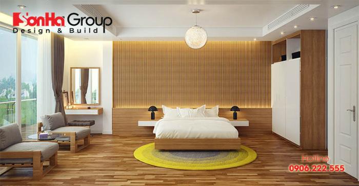 Không gian phòng ngủ khách sạn hiện đại với thiết kế đơn giản, nhưng đạt chuẩn 3 sao