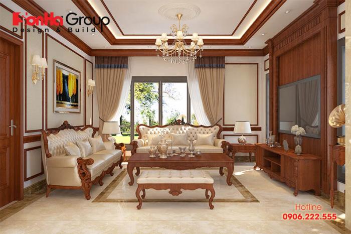 Mẫu nội thất phòng khách kiểu tân cổ điển ấn tượng, bề thế trang hoàng đăng đối với phong thái lịch thiệp