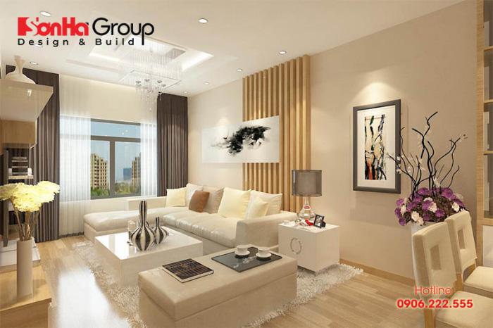 Mẫu phòng khách đẹp dành cho căn hộ chung cư hiện đại có diện tích sử dụng 14m2 khoa học và tiện nghi