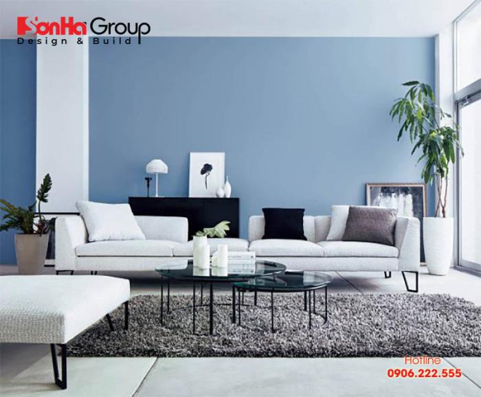 Mẫu phòng khách màu xanh dương độc đáo khiến bạn bị mê mẩn 1