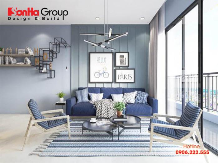 Mẫu phòng khách màu xanh dương độc đáo khiến bạn bị mê mẩn 2