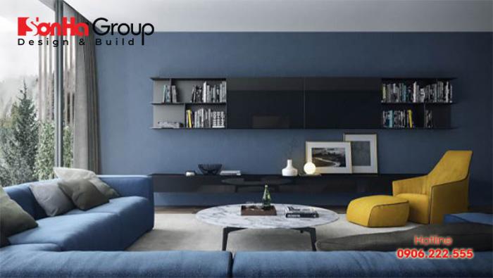 Mẫu phòng khách màu xanh dương độc đáo khiến bạn bị mê mẩn 3