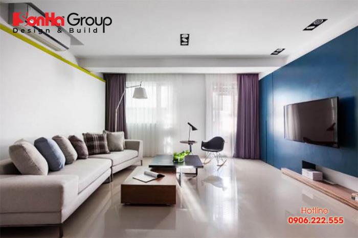 Mẫu phòng khách màu xanh dương độc đáo khiến bạn bị mê mẩn 4