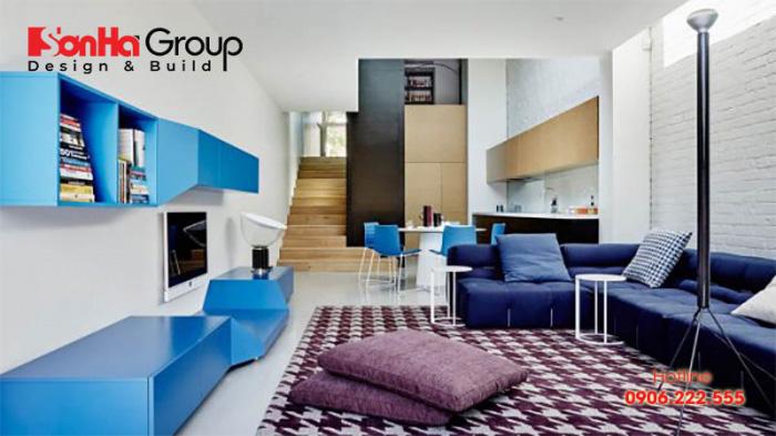 Mẫu phòng khách màu xanh dương độc đáo khiến bạn bị mê mẩn 5