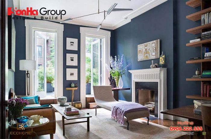 Mẫu phòng khách màu xanh dương độc đáo khiến bạn bị mê mẩn