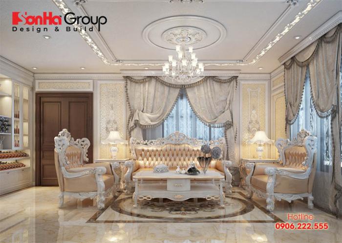 Mẫu phòng khách tân cổ điển với nội thất cao cấp toát lên vẻ đẹp ấm cúng, quyền quý khiến ai cũng phải trầm trồ khen ngợi