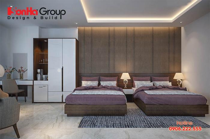 Mẫu phòng ngủ khách sạn 3 sao phong cách hiện đại với 2 giường đôi tiện dụng cho khách hàng