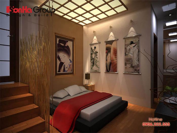 Màu sơn tường phòng ngủ theo truyền thống của phong cách Nhật Bản thường là tông màu nâu đất