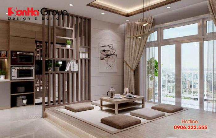 Mẫu thiết kế phòng khách ngồi bệt đẹp và ấn tượng nhất