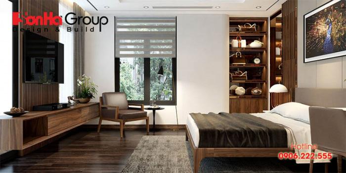 Mẫu thiết kế phòng ngủ cực đẹp phong cách hiện đại sử dụng gỗ công nghiệp