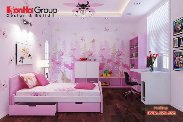 Mẫu trang trí phòng ngủ với tông màu hồng dịu dàng dành cho các bé gái