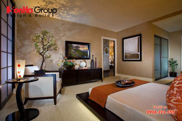 Những đặc trưng của phong cách Nhật Bản được khéo léo thể hiện trong không gian phòng ngủ này
