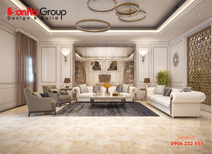 Những gam màu nhẹ nhàng cùng với những hoa văn tinh tế mang đến không gian nội thất tân cổ điển nét tinh tế và sang trọng