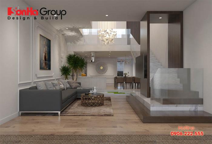 Nội thất cao cấp, hiện đại với kệ tủ tivi và bộ ghế sofa cao cấp dành cho nhà ống phong cách hiện đại