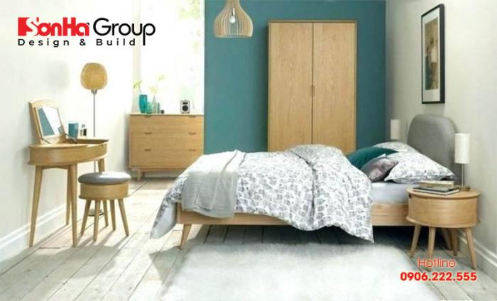 Nội thất đơn giản và vật liệu gỗ phối màu nổi bật giúp phòng ngủ retro trở nên đẹp hơn
