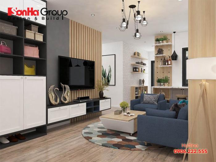 Nội thất phòng khách căn hộ chung cư hiện đại nhỏ đẹp và tiện nghi cho không gian trở nên sinh động và bắt mắt