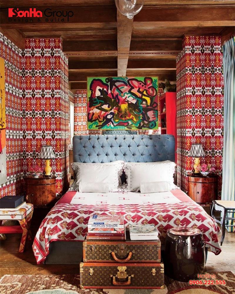 Phong cách retro trong thiết kế nội thất phòng ngủ ấn tượng với đồ nội thất hình dạng khác, độc đáo