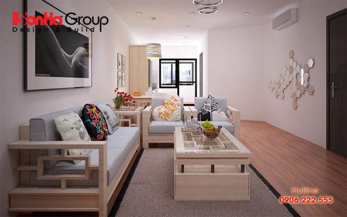 Phòng khách chung cư nhỏ được sử dụng các mùa sắc trang nhã, nhẹ nhàng